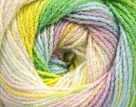 Fiber Content 95% Acrylic, 5% Lurex, Yellow, White, Pink, Lilac, Brand ICE, Green, Blue, Yarn Thickness 3 Light  DK, Light, Worsted, fnt2-49875