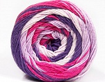 Fiber indhold 100% Bomuld, White, Purple, Lilac, Brand Ice Yarns, Fuchsia, Yarn Thickness 3 Light  DK, Light, Worsted, fnt2-50561