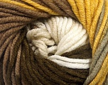Fiber Content 100% Acrylic, Yellow, White, Brand ICE, Brown Shades, Yarn Thickness 5 Bulky  Chunky, Craft, Rug, fnt2-50839