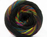 Fiber Content 90% Acrylic, 10% Polyamide, Rainbow, Brand ICE, Black, Yarn Thickness 4 Medium  Worsted, Afghan, Aran, fnt2-54531