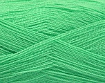 Very thin yarn. It is spinned as two threads. So you will knit as two threads. Yardage information is for only one strand. Fiber Content 100% Acrylic, Light Mint Green, Brand ICE, Yarn Thickness 1 SuperFine  Sock, Fingering, Baby, fnt2-54692