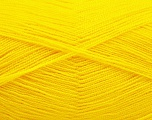 Very thin yarn. It is spinned as two threads. So you will knit as two threads. Yardage information is for only one strand. Fiber Content 100% Acrylic, Yellow, Brand Ice Yarns, Yarn Thickness 1 SuperFine  Sock, Fingering, Baby, fnt2-54701