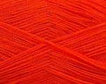Very thin yarn. It is spinned as two threads. So you will knit as two threads. Yardage information is for only one strand. Fiber Content 100% Acrylic, Orange, Brand ICE, Yarn Thickness 1 SuperFine  Sock, Fingering, Baby, fnt2-54703