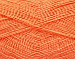 Very thin yarn. It is spinned as two threads. So you will knit as two threads. Yardage information is for only one strand. Fiber Content 100% Acrylic, Light Salmon, Brand ICE, Yarn Thickness 1 SuperFine  Sock, Fingering, Baby, fnt2-54710