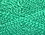 Very thin yarn. It is spinned as two threads. So you will knit as two threads. Yardage information is for only one strand. Fiber Content 100% Acrylic, Mint Green, Brand ICE, Yarn Thickness 1 SuperFine  Sock, Fingering, Baby, fnt2-54792