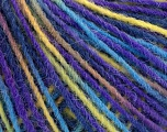 Fiber Content 100% Acrylic, Yellow, Turquoise, Purple, Brand ICE, Yarn Thickness 3 Light  DK, Light, Worsted, fnt2-55615