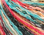 Fiber Content 50% Acrylic, 50% Cotton, Turquoise, Salmon Shades, Brand ICE, Black, Yarn Thickness 4 Medium  Worsted, Afghan, Aran, fnt2-57272