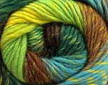 A self-striping yarn, which gets its design when knitted Fiber Content 100% Wool, Yellow, Brand KUKA, Green, Brown, Yarn Thickness 4 Medium  Worsted, Afghan, Aran, fnt2-16878