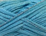 Fiber Content 90% Acrylic, 10% Lurex, Silver, Light Blue, Brand ICE, Yarn Thickness 6 SuperBulky  Bulky, Roving, fnt2-22095