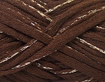 Fiber Content 90% Acrylic, 10% Lurex, Brand ICE, Gold, Brown, Yarn Thickness 6 SuperBulky  Bulky, Roving, fnt2-22104