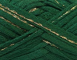 Fiber Content 90% Acrylic, 10% Lurex, Brand ICE, Gold, Dark Green, Yarn Thickness 6 SuperBulky  Bulky, Roving, fnt2-22151