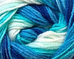 Fiber Content 100% Premium Acrylic, White, Turquoise, Brand ICE, Blue, Yarn Thickness 3 Light  DK, Light, Worsted, fnt2-24559