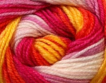 Fiber Content 100% Premium Acrylic, Yellow, White, Orange, Brand Ice Yarns, Fuchsia, Yarn Thickness 3 Light  DK, Light, Worsted, fnt2-24565