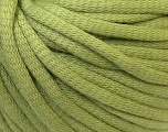 This is a tube-like yarn with soft cotton fleece filled inside. Fiber Content 70% Cotton, 30% Polyester, Light Green, Brand Ice Yarns, Yarn Thickness 5 Bulky  Chunky, Craft, Rug, fnt2-32504