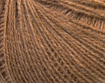 This is an excellent yarn with high-content of Alpaca, Mohair, and Merino Wool. Works excellent for your fine-weight patterns with more than 30 plain and melange colors. Fiber Content 40% Merino Wool, 30% Acrylic, 20% Alpaca, 10% Mohair, Light Brown, Brand Ice Yarns, Yarn Thickness 2 Fine  Sport, Baby, fnt2-33832
