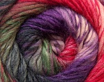 A self-striping yarn, which gets its design when knitted Fiber Content 100% Wool, Red, Pink, Lavender, Brand KUKA, Grey, Green, Yarn Thickness 4 Medium  Worsted, Afghan, Aran, fnt2-34502