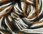 Fiber Content 100% Acrylic, White, Brand ICE, Brown Shades, Black, Yarn Thickness 4 Medium  Worsted, Afghan, Aran, fnt2-36328