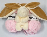 with Bunny Knitting kit for making a baby hat AND a baby scarf with animal figures included. See knitted samples for knitting instructions. Fiber Content 100% Micro Fiber, Brand ICE, Baby Pink, fnt2-40734