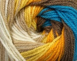 Fiber Content 100% Premium Acrylic, Yellow, White, Orange, Brand Ice Yarns, Camel, Brown, Blue, Yarn Thickness 3 Light  DK, Light, Worsted, fnt2-42196
