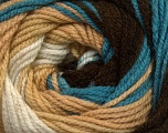 Fiber Content 100% Premium Acrylic, White, Turquoise, Latte, Brand ICE, Brown, Yarn Thickness 3 Light  DK, Light, Worsted, fnt2-42203