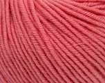 SUPERWASH MERINO is a worsted weight 100% superwash merino yarn available in 47 beautiful colors. Marvelous hand, perfect stitch definition, and a soft-but-sturdy finished fabric. Projects knit and crocheted in SUPERWASH MERINO are machine washable! Lay flat to dry. Fiber Content 100% Superwash Merino Wool, Rose Pink, Brand ICE, Yarn Thickness 4 Medium  Worsted, Afghan, Aran, fnt2-42478