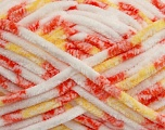 Composition 100% Micro fibre, Yellow, White, Orange, Brand Ice Yarns, Yarn Thickness 6 SuperBulky  Bulky, Roving, fnt2-42494