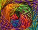 Fiber Content 70% Dralon, 30% Wool, Turquoise, Orange, Neon Yellow, Neon Green, Lilac, Brand ICE, Yarn Thickness 4 Medium  Worsted, Afghan, Aran, fnt2-42703