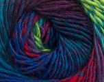 Fiber Content 70% Dralon, 30% Wool, Turquoise, Maroon, Brand ICE, Green, Fuchsia, Blue, Yarn Thickness 4 Medium  Worsted, Afghan, Aran, fnt2-42709