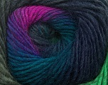 Fiberinnhold 70% Dralon, 30% Ull, Brand Ice Yarns, Green, Fuchsia, Blue, Yarn Thickness 4 Medium  Worsted, Afghan, Aran, fnt2-42765