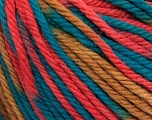 SUPERWASH WOOL BULKY is a bulky weight 100% superwash wool yarn. Perfect stitch definition, and a soft-but-sturdy finished fabric. Projects knit and crocheted in SUPERWASH WOOL BULKY are machine washable! Lay flat to dry. Fiber Content 100% Superwash Wool, Teal, Salmon, Light Brown, Brand ICE, Yarn Thickness 5 Bulky  Chunky, Craft, Rug, fnt2-42859