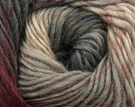 Fiberinnhold 100% Ull, Brand Ice Yarns, Grey, Cream, Burgundy, Yarn Thickness 4 Medium  Worsted, Afghan, Aran, fnt2-43061