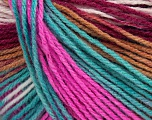 Composition 100% Acrylique, Turquoise, Pink, Maroon, Light Brown, Brand Ice Yarns, Yarn Thickness 2 Fine  Sport, Baby, fnt2-43719