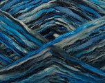 Fiber Content 52% Wool, 48% Acrylic, Brand Ice Yarns, Blue Shades, Black, fnt2-44073