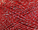 Fiber Content 80% Mako Cotton, 20% Metallic Lurex, Silver, Red, Brand Ice Yarns, fnt2-44197