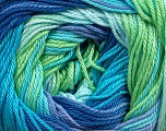 Composition 100% Coton mercerisé, Turquoise, Lilac, Brand Ice Yarns, Green, Blue Shades, fnt2-44695