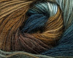 Fiber Content 40% Wool, 30% Mohair, 30% Acrylic, Teal, Light Blue, Brand ICE, Brown Shades, Yarn Thickness 3 Light  DK, Light, Worsted, fnt2-45799