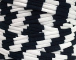 Make handbags,rugs,basket and cushion covers with this genius new-fashion yarn!<p>Since the yarn is made by upcycling fabrics, and because of the nature of the yarn; take the following notes into consideration. </p><ul><li>Width vary between 0,8 cm and 1,2 cm</li><li>Fiber content information may vary. Information given about fiber content is approximate. </li><li>The yardage and weight information of the yarn is approximate. </li></ul> Fiber Content 95% Cotton, 5% Elastan, White, Brand ICE, Black, Yarn Thickness 6 SuperBulky  Bulky, Roving, fnt2-47229