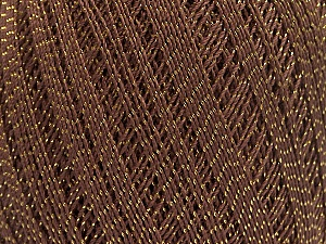 Ne: 10/3 Nm: 17/3 Fiber Content 96% Mercerised Cotton, 4% Metallic Lurex, Brand ICE, Gold, Brown, Yarn Thickness 1 SuperFine  Sock, Fingering, Baby, fnt2-49852