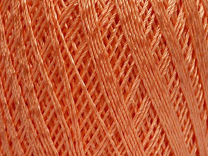 Ne: 10/3 +600d. Viscose. Nm: 17/3 Fiber Content 72% Mercerised Cotton, 28% Viscose, Light Orange, Brand ICE, Yarn Thickness 1 SuperFine  Sock, Fingering, Baby, fnt2-49871