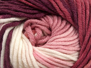 Fiber Content 100% Acrylic, White, Pink Shades, Maroon, Brand ICE, Yarn Thickness 5 Bulky  Chunky, Craft, Rug, fnt2-50841