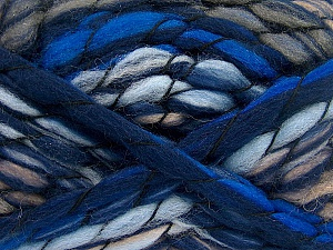 Fiber Content 50% Acrylic, 50% Wool, Brand ICE, Camel, Blue Shades, Yarn Thickness 6 SuperBulky  Bulky, Roving, fnt2-52588