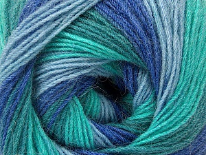 Fiber Content 60% Acrylic, 20% Angora, 20% Wool, Turquoise Shades, Brand ICE, Blue Shades, Yarn Thickness 2 Fine  Sport, Baby, fnt2-53565