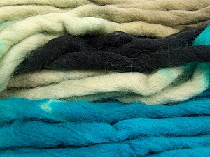 Fiber Content 100% Superwash Wool, Turquoise, Brand ICE, Grey, Black, Yarn Thickness 6 SuperBulky  Bulky, Roving, fnt2-53566