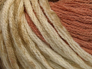 Fiber Content 50% Acrylic, 50% Wool, Light Salmon, Khaki, Brand ICE, Cream, Yarn Thickness 6 SuperBulky  Bulky, Roving, fnt2-54381