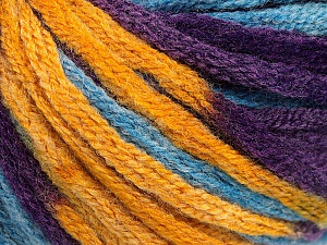 Fiber Content 50% Acrylic, 50% Wool, Purple, Brand ICE, Gold, Blue, Yarn Thickness 6 SuperBulky  Bulky, Roving, fnt2-54385