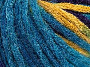 Fiber Content 50% Acrylic, 50% Wool, Turquoise, Purple, Brand ICE, Gold, Yarn Thickness 6 SuperBulky  Bulky, Roving, fnt2-54386