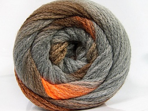 Fiber Content 90% Acrylic, 10% Polyamide, Orange, Brand ICE, Grey, Brown Shades, Yarn Thickness 4 Medium  Worsted, Afghan, Aran, fnt2-54525