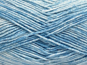 Strong pure cotton yarn in beautiful colours, reminiscent of bleached denim. Machine washable and dryable. Fiber Content 100% Cotton, White, Light Blue, Brand Ice Yarns, fnt2-54760