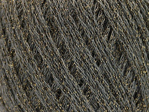 Fiber Content 40% Acrylic, 40% Wool, 20% Metallic Lurex, Brand ICE, Grey, Gold, Yarn Thickness 3 Light  DK, Light, Worsted, fnt2-55278
