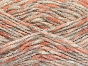 Fiber Content 48% Polyamide, 27% Wool, 25% Acrylic, White, Salmon Shades, Light Grey, Brand ICE, fnt2-56757